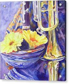 Triumphant Daisies Acrylic Print by Jenny Armitage