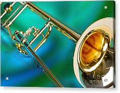 Trombone Against Green And Blue In Color 3204.02 Acrylic Print