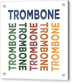 Trombone Cute Colorful Acrylic Print by Flo Karp