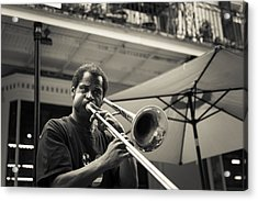 Trombone In New Orleans Acrylic Print by David Morefield