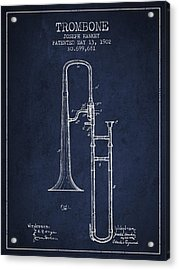 Trombone Patent From 1902 - Blue Acrylic Print by Aged Pixel