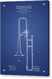 Trombone Patent From 1902 - Blueprint Acrylic Print by Aged Pixel