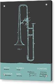 Trombone Patent From 1902 - Modern Gray Blue Acrylic Print by Aged Pixel