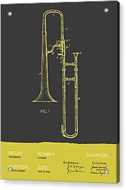 Trombone Patent From 1902 - Modern Gray Yellow Acrylic Print by Aged Pixel