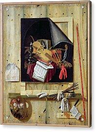 Trompe Loeil Still Life, 1665 Oil On Canvas Acrylic Print by Cornelis Norbertus Gysbrechts