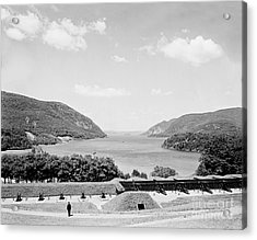 Trophy Point North Fro West Point In Black And White Acrylic Print