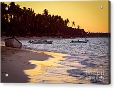 Tropical Beach At Sunset Acrylic Print by Elena Elisseeva