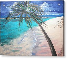 Acrylic Print featuring the painting Tropical Beach by Judy Via-Wolff