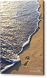 Tropical Beach With Footprints Acrylic Print by Elena Elisseeva
