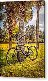 Tropical Bicycle Acrylic Print by Debra and Dave Vanderlaan
