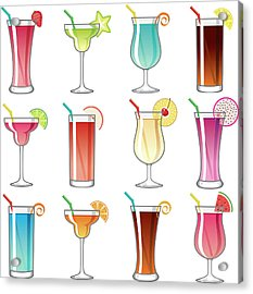 Tropical Cocktail Glass Icons Set Acrylic Print by Bortonia