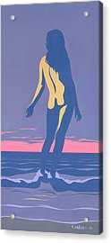 Tropical Exotic Nude Surf Sunset Tasteful Original Pop Art Nouveau 80s Painting Purple Pink Acrylic Print by Walt Curlee