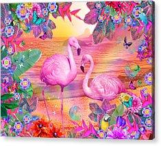 Tropical Flamingo Acrylic Print by Alixandra Mullins
