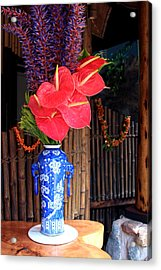 Tropical Flowers In A Porcelain Vase Acrylic Print by Karon Melillo DeVega