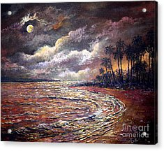 Acrylic Print featuring the painting Tropical Moon by Lou Ann Bagnall
