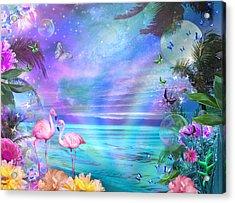 Tropical Moonlight Flamingos Acrylic Print by Alixandra Mullins