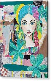 Tropical Parrot Girl Acrylic Print