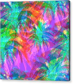Tropical Pattern Depicting Pink And Acrylic Print