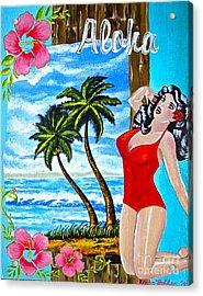 Tropical Pinup Girl Acrylic Print by Sheena Pape