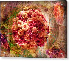 English Rose Bouquet Acrylic Print