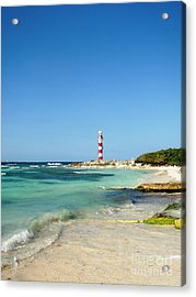 Tropical Seascape With Lighthouse Acrylic Print