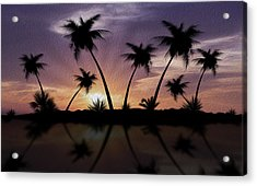Tropical Sunset Acrylic Print by Aged Pixel