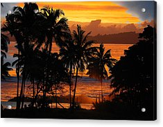 Tropical Sunset In Blues Acrylic Print