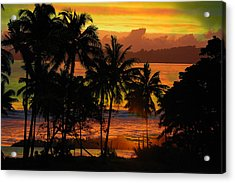 Tropical Sunset In Greens Acrylic Print