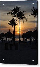 Tropical Sunset Acrylic Print by Linda  Barone