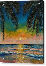 Tropical Sunset Acrylic Print by Michael Creese