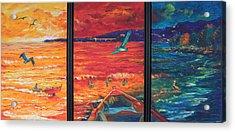 Tropical Trance Triptych Acrylic Print by Estela Robles Galiano