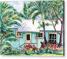 Acrylic Print featuring the painting Tropical Vacation Cottage by Marionette Taboniar