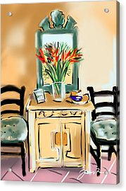 Acrylic Print featuring the painting Tropicana Motif by Jean Pacheco Ravinski