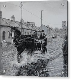 Trotting Thro The Floods Limerick 2014 Acrylic Print by Tomas OMaoldomhnaigh