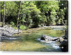 Trout Fishing Acrylic Print by Susan Leggett