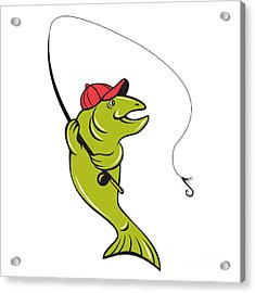 Trout Fly Fishing Rod Hook Cartoon Acrylic Print