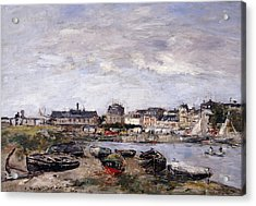 Trouville View Toward Deauville On Market Day Acrylic Print by Eugene Louis Boudin