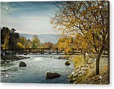 Acrylic Print featuring the photograph Truckee River Downtown Reno Nevada by Janis Knight