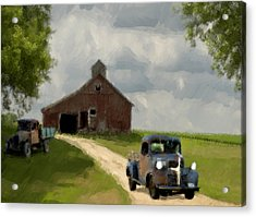 Trucks And Barn Acrylic Print by Jack Zulli