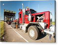 Trucks Haul Load Of Tar Sands Equipment Acrylic Print