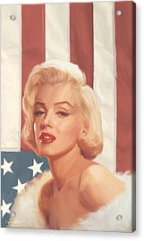 True Blue Marilyn In Flag Acrylic Print by Chris Consani