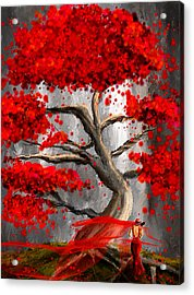 True Love Waits - Red And Gray Art Acrylic Print by Lourry Legarde