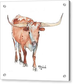 Square Walking Tall Texas Longhorn Watercolor Painting By Kmcelwaine Acrylic Print by Kathleen McElwaine