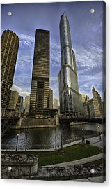 Trump Tower And River Front Acrylic Print by Sebastian Musial