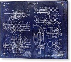 Trumpet Patent Drawing Blue Acrylic Print by Jon Neidert