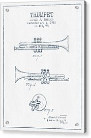 Trumpet Patent From 1940 - Blue Ink Acrylic Print by Aged Pixel