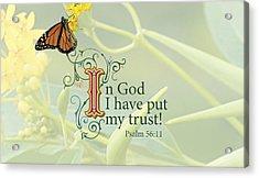 Trust Acrylic Print by Sarah Christian