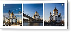 Tryptich - Cathedral Of Christ The Savior Of Moscow City - Features 3 Acrylic Print by Alexander Senin