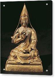 Tsong-kha-pa. 18th C. Golden Bronze Acrylic Print by Everett