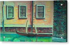 Tucked Into The Canal Acrylic Print by Rita Brown